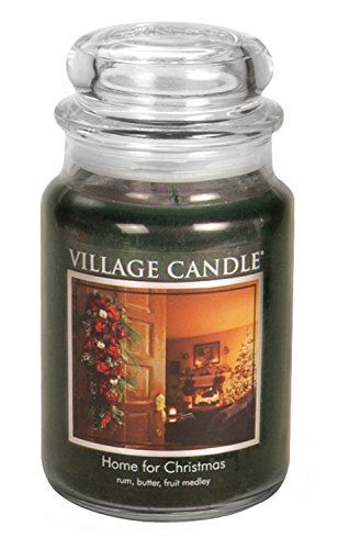 26 Christmas Jar Ounce - Village Candle Home for Christmas 26 oz Glass Jar Scented Candle, Large,