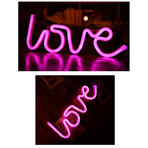 ℊeneral Love Shape LED Letter Light Confession Christmas Decoration Lights Neon Lights Battery Powered Lamp for Wedding Holiday Party (A)