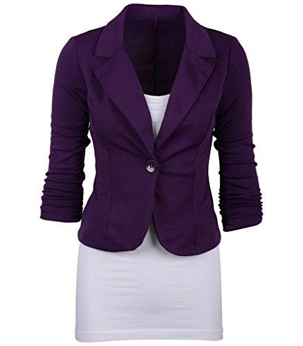 Bigood Femme Classique Costume Veste Couleur Uni Vogue Bouton Violet