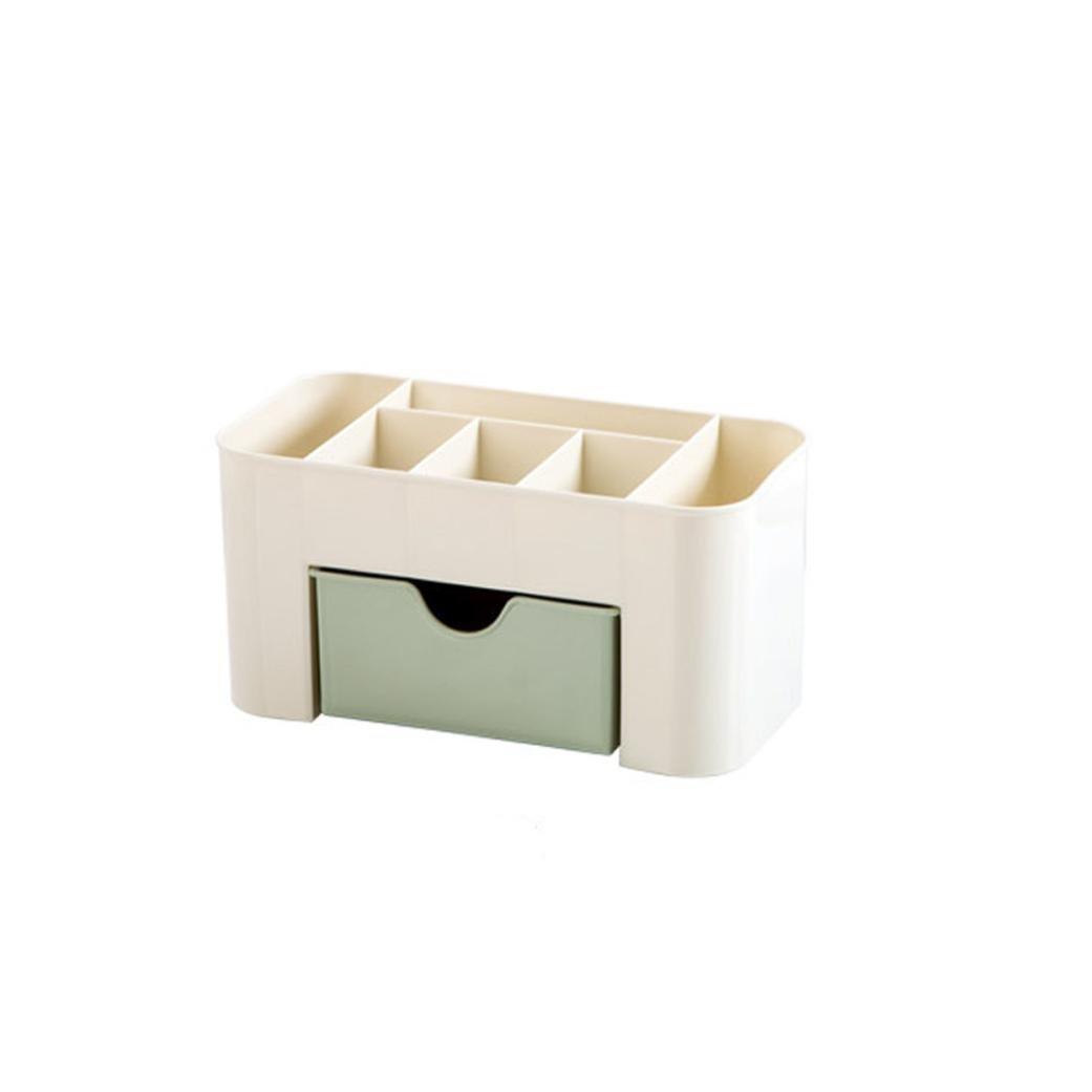 Dingji Saving Space Desktop Makeup Storage Comestics Drawer Type Box (Green)
