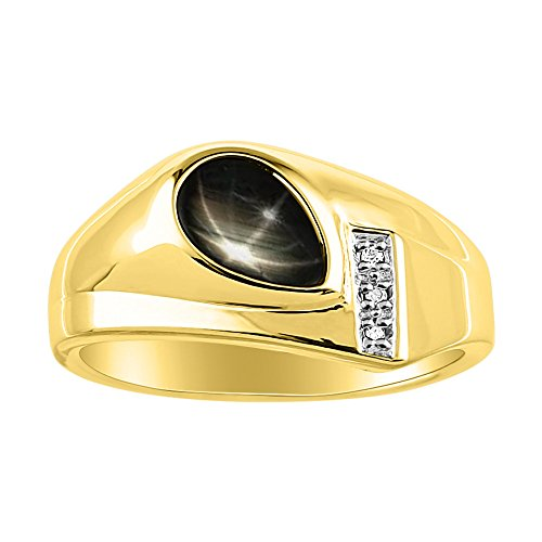 Timeless Pear Shape Genuine Black Star Sapphire & Natural Diamond Ring Yellow Gold Plated Silver by Rylos