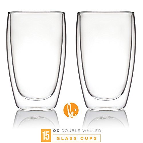 Coffee or Tea Glass Mugs Drinking Glasses Set of 2 - 15oz Double Walled Thermo Insulated Cups, Latte Cappuccino Espresso Glassware