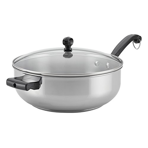 Farberware 70121 Classic Stainless Steel Fry Saute Pan/Chefpan with Lid, 6 Quart, Silver