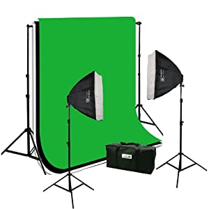 ePhoto 3 Muslins Backdrop Background Stand Light Kit 2 Softbox Video Photo Photography Studio Continuous Lighting Set Case H9004S-69BWG