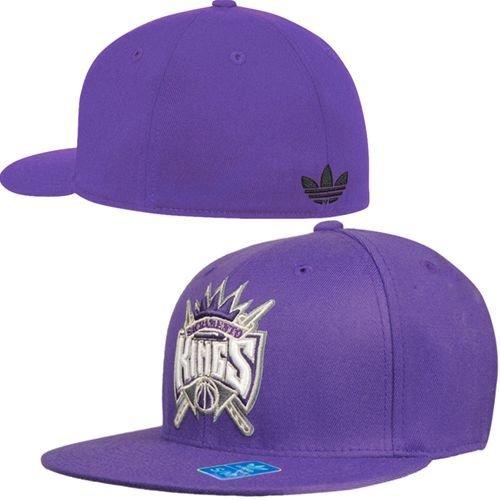 (adidas Sacramento Kings Flat Bill Fitted Hat size L/XL M026Z)