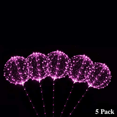 Pink Led Balloons (ZancyBazz 18 Inch 5 PCS 3 Mode Flashing Led Light Up BoBo Balloons Colorful/ WarmWhite Fillable Transparent Balloons with Helium, Great for Christmas Party, House Decorations, Graduation)