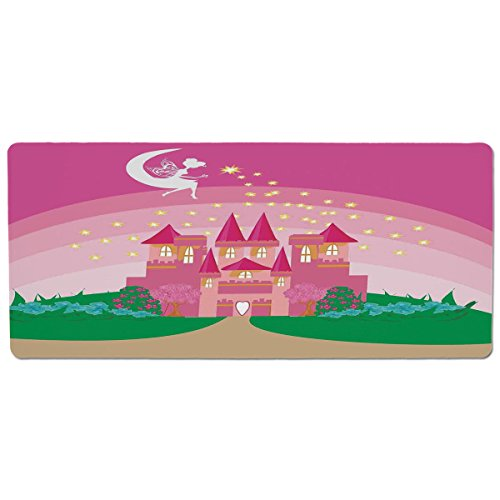 Pet Mat for Food and Water,Girls,Magic Fantasy Fairy Tale Princess Castle with Pixie in Sky Fictional Dream Kingdom,Pink Green,Rectangle Non-Slip Rubber Mat for Dogs and Cats