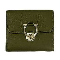 Salvatore Ferragamo Gancini Green Leather Bifold Wallet 22d183 Army