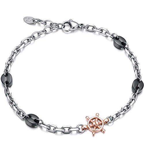 c81fcc093653 Luca barra pulsera de acero con elementos negros y timón Rosè Design Made  in ...