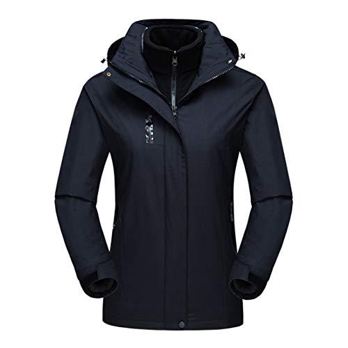 Hood Snowboard Jacket (Alomoc Women's 3 in 1 Winter Hiking Jacket Waterproof Softshell Snowboard Coats with Hood)