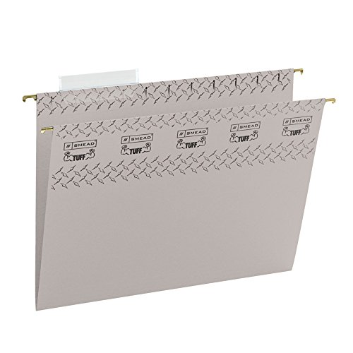 Smead TUFF Hanging File Folder with Easy Slide Tab, 1/3-Cut Sliding Tab, Letter Size, Steel Gray, 18 per Box (64092)