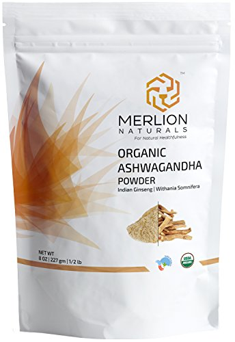 Merlion Naturals Organic Ashwagandha Root Powder (Withania Somnifera/Indian Ginseng) - 8 OZ / 1/2 lb / 227 gm | 100% USDA NOP Certified Organic