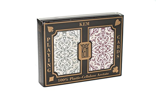 Cards Index Decks 2 Playing - KEM Jacquard Green and Burgundy, Bridge Size -Jumbo Index Playing Cards (Pack of 2)