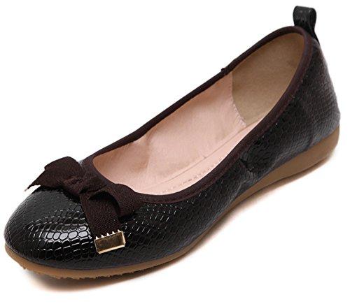 Shoes Aisun on Slip Cute Women's Bow Toe Black Round Flats rXw8rPYqx
