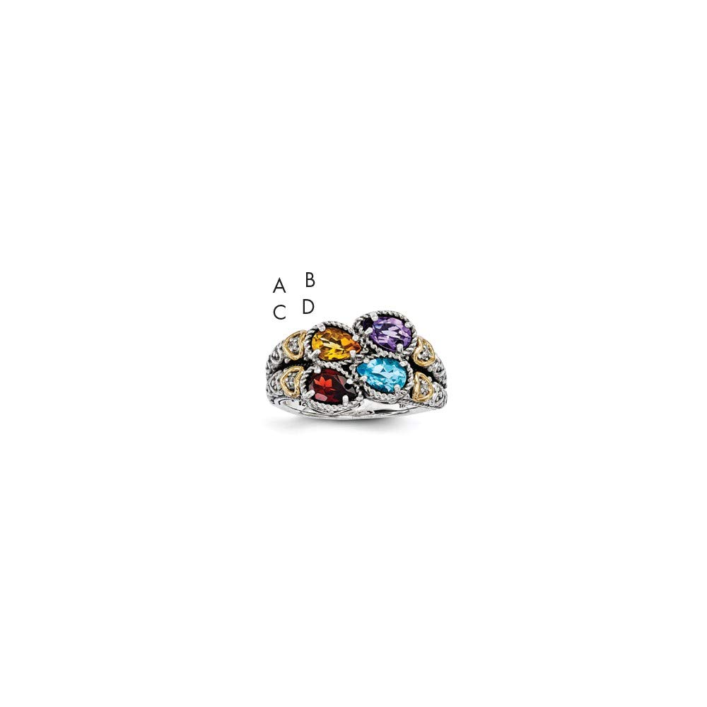 Sterling Silver /& 14k Four-stone and Diamond Mothers Ring Semi-Mount Size 6 Length Width 12