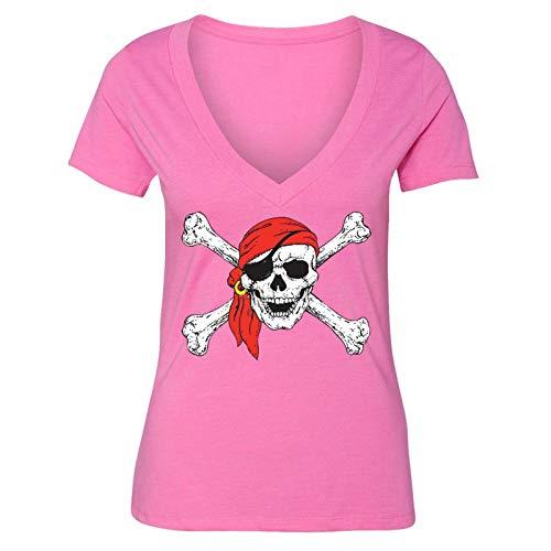 XtraFly Apparel Women's Jolly Roger Rodger Pirate Skulls Day of Dead V-Neck Short Sleeve T-Shirt ()