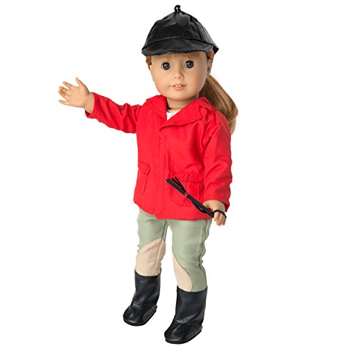 Horse Riding Equestrian Doll Outfit - Doll Clothes for American Girl Dolls (Includes Riding Hat, Shirt, Jacket, Pants, Boots, and Crop)