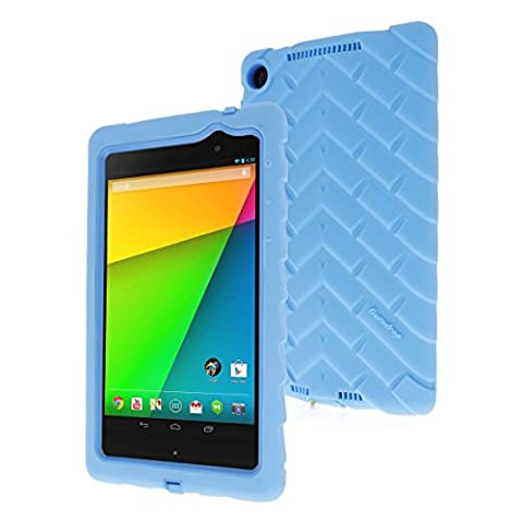 Google Nexus 7 (2013) Drop Tech Light Blue Gumdrop Cases Silicone Rugged Shock Absorbing Protective Dual Layer Cover (Nexus 7 Case 2013 Rugged)