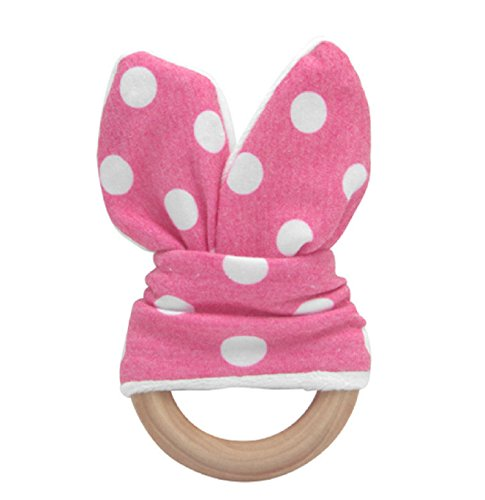 Hot Sale! Natural Teething Ring Teether Cute Baby Safety Handmade Wooden Bunny Sensory Toy