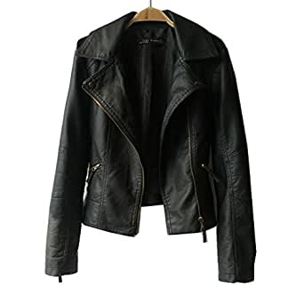 VANGULL Girls Zipper Slim Biker Motorcycle PU Leather