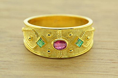 Style Ring Etruscan (Etruscan Style Ring With Princess Cut Emerald Oval Ruby Cz Ring 22K Gold Plated, Byzantine Rubies Emeralds CZ Ring, 22K Gold Plated Ring, CZ Band Ring, Sterling Silver Ring, Byzantine Ring, Greek Jewelry, Luxury Ring, Medieval Ring, Elegant Sterling Silver Ring, cubic zirconia Ring)