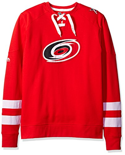 NHL Carolina Hurricanes Men's Centre Long Sleeve Crew Neck Pullover Sweatshirt, Medium, Athletic Red/Red/White