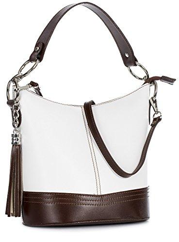 Protectora De Bucket Y blanco Mujer Bolso Borde Para Bolsa Piel Liatalia Con Decorativa Nikki Borla Marrón 4Hq1wAn