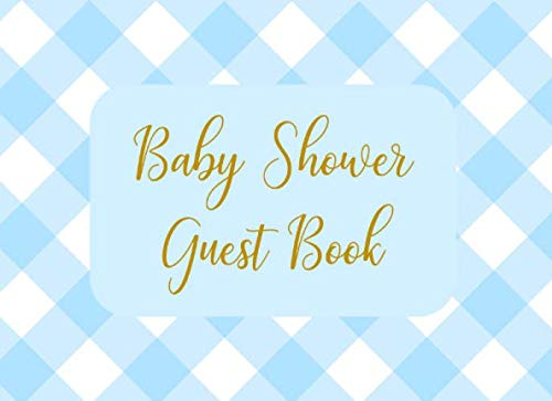 Baby Shower Guest Book: Welcome Sign In Wishes for Baby and Advice for Parents - Blue Checkered ()