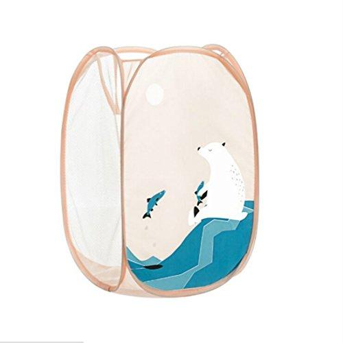 Cartoon Lovely Cute Cool Animals Foldable Pop Up Mesh Washing Laundry Basket Bin Hamper Bag Laundry Basket (Polar Bear)