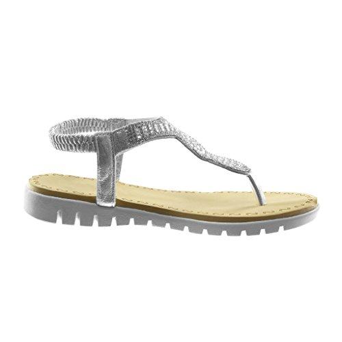 Schuhe On Damen Flops Silber Slip Spange 2 T Flip Strass Keilabsatz 5 Sandalen Angkorly cm q5HYY