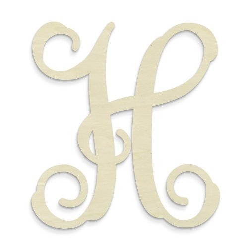 UNFINISHEDWOODCO Single Vine Monogram Unfinished Letter, 19.5-Inch, Letter