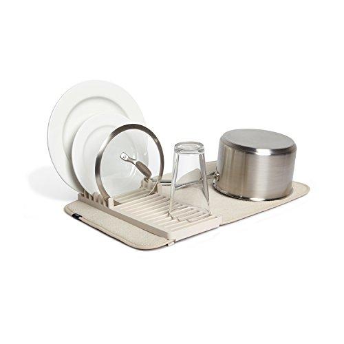 (Umbra Udry Mini Dish Rack and Drying Mat, Linen, 20 x 13