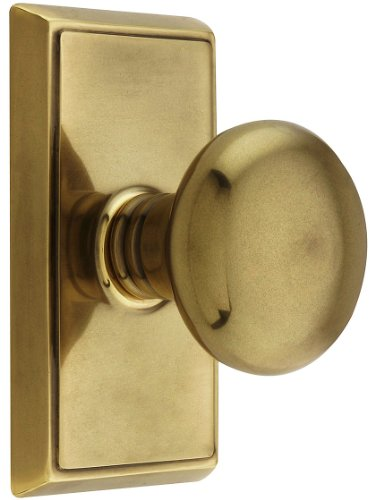 (Providence Door Set With Round Brass Knobs Double Dummy In Antique Brass. Doorsets. )