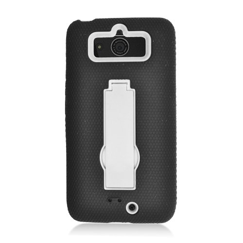Eagle Cell Motorola Droid Mini Black Hybrid Skin Case - Retail Packaging - White