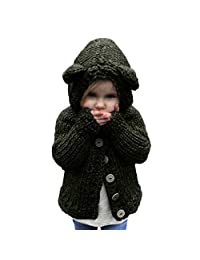Iuhan Toddler Girls Baby Sweater Hooded Knit Pullovers Cardigan Warm Coat Clothes