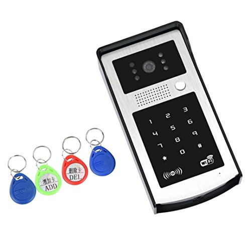 Smart Remote Garage Door Opener - Smart Garage Door Controller Compatible with Most Garage Door Openers - New WIFI IP Video Door Phone Intercom With RFID Keypad Unlock Android IOS (Black Keypad)