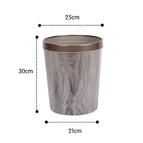 WOLFBUSH 12L Trash Can Durable Garbage Can Waste Basket with Wood-Grain European Style Wastebin for Bathroom, Bedroom, Office (Silver Grey) by WOLFBUSH (Image #1)