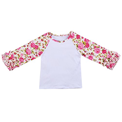 Little Girls' Long-Sleeve Icing Ruffle T-Shirt Gold Polka Dots Cotton Top Boutique Athletic Workout Undershirt Rose Flower White 12-18 Months ()