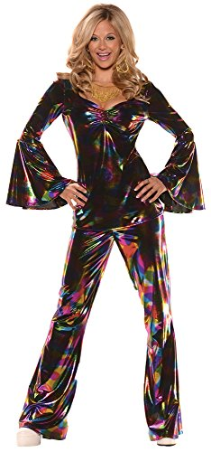 Underwraps Women's Disco Diva Dress Theme Party Outfit Halloween Costume, L (12-14) ()