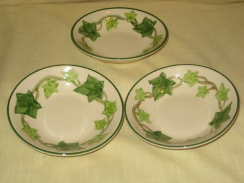 """Set of 3 - Vintage California Pottery Franciscan Ivy 5 1/4"""" x 2"""" Berry Bowls USA"""