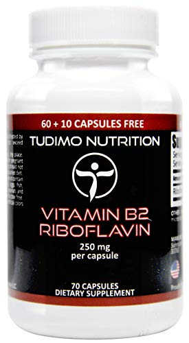 ★ Vitamin B2 Riboflavin ★ 250mg ★ 70 pcs (2+ Month Supply) of Rapidly Disintegrating Capsules, Each with 250 mg of Premium Quality & Pure Riboflavin Powder, by TUDIMO