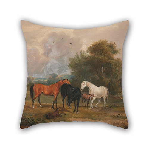 alphadecor-oil-painting-francis-calcraft-turner-horses-grazing-mares-and-foals-in-a-field-pillow-cov