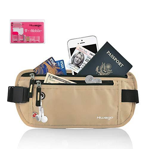 Hiwego Money Belt RFID Blocking Undercover Hidden Travel Wallet & Passport Holder for Men & Women (Khaki)