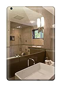 Ipad Case - Tpu Case Protective For Ipad Mini/mini 2- Neutral Brown Contemporary Bathroom With Rectangular White Vessel Sink