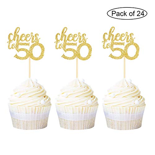 Newqueen 24 Pack Cheers to 50 Cupcake Toppers Gold Glitter Age Fifty 50th Birthday Cupcake Topper Anniversary Party Cake Decors