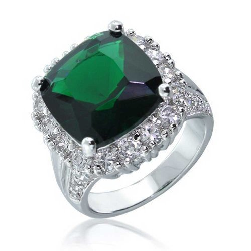 10.3 CT Square Simulated Emerald CZ Cocktail Ring Cushion Cut Halo Rhodium Plated Base Metal