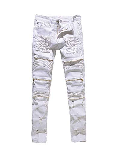 Rexcyril Men's Moto Biker Jeans Distressed Ripped Skinny Destroyed Slim Fit Denim Pants with Zippers White W32 (White Ripped Mens Jeans)