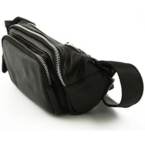 Gürteltasche Aus Echtem Leder Mit äußeren Fächern Farbe Schwarz - Italienische Lederwaren - Herrentasche