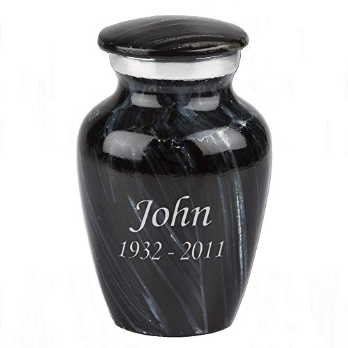 Perfect Memorials Custom Engraved Ebony Glaze Keepsake Cremation Urn (Glaze Urn)