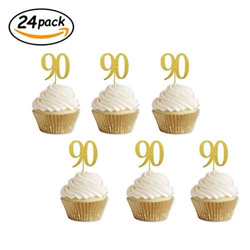 Gold Glitter 90th Birthday Cupcake Toppers Party Supplies Decorations 24 - Cupcake Birthday